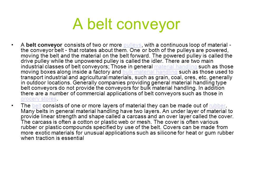 A belt conveyor