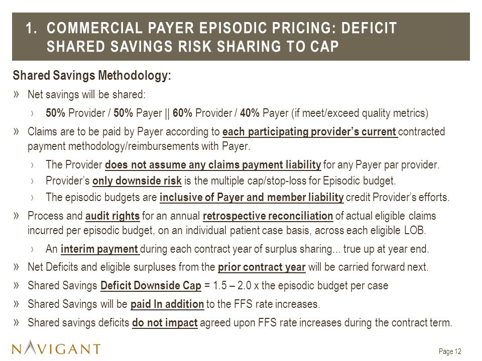 1. COMMERCIAL PAYER EPISODIC PRICING: Deficit Shared Savings Risk Sharing To Cap