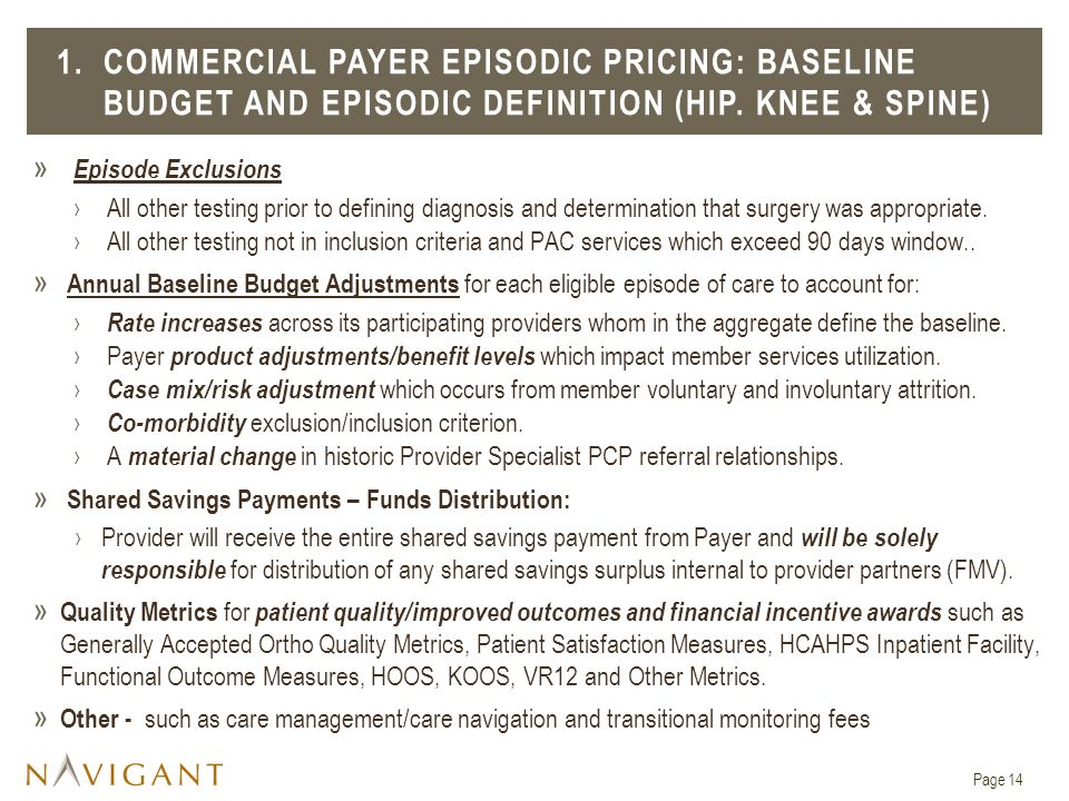 1. COMMERCIAL PAYER EPISODIC PRICING: BASELINE BUDGET and EPISODIC DEFINITION (HIP. KNEE & SPINE)