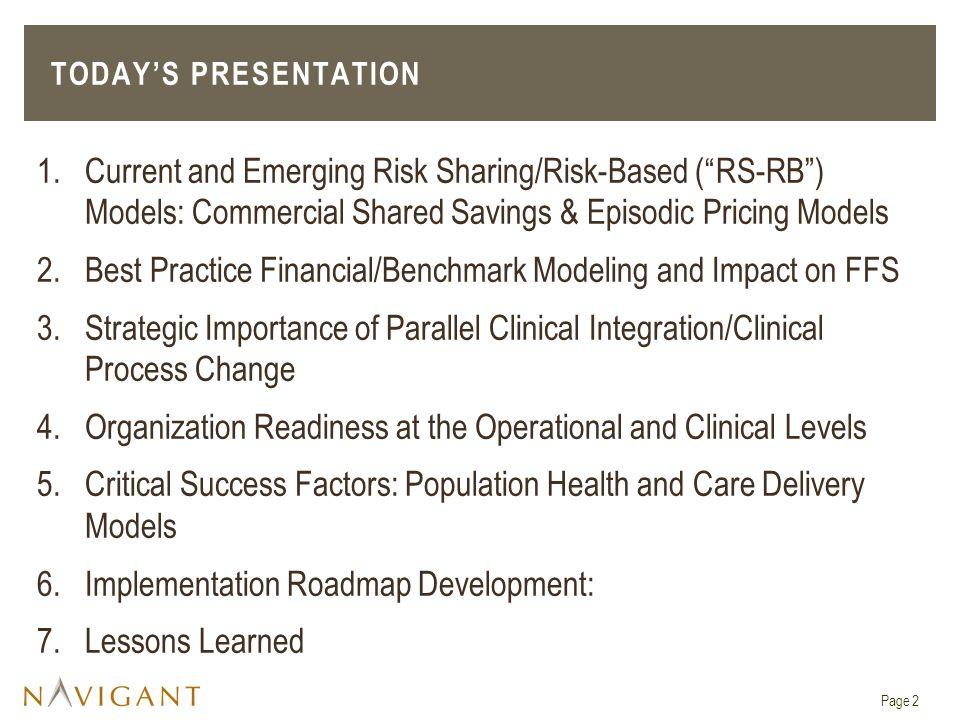 Best Practice Financial/Benchmark Modeling and Impact on FFS