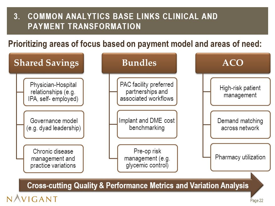 Prioritizing areas of focus based on payment model and areas of need: