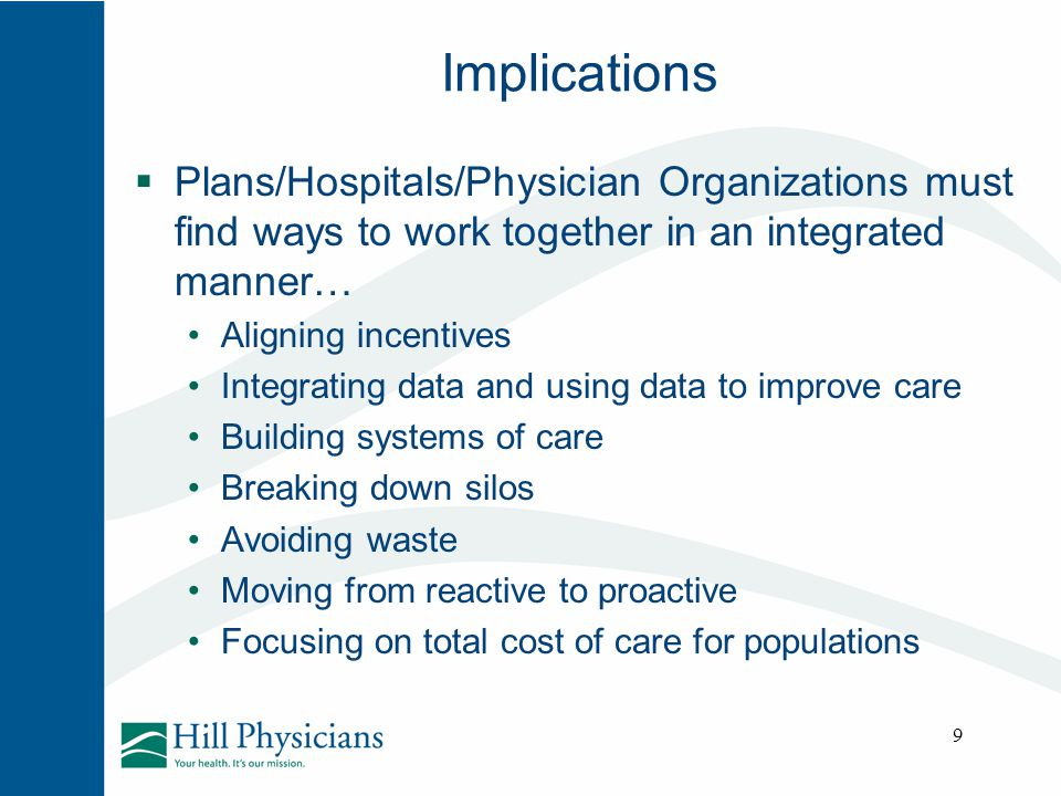 Implications Plans/Hospitals/Physician Organizations must find ways to work together in an integrated manner…