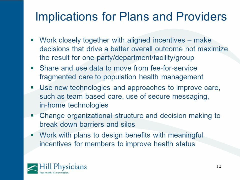 Implications for Plans and Providers