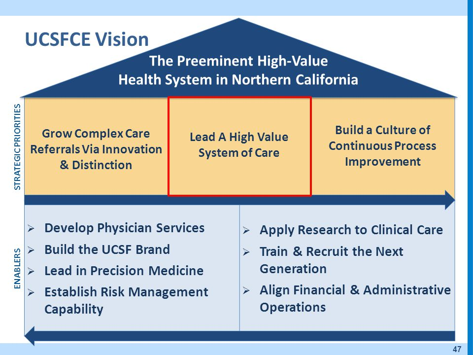 UCSFCE Vision The Preeminent High-Value