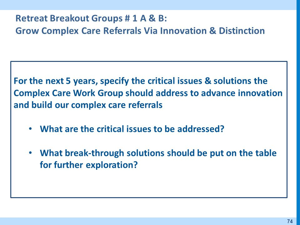 Retreat Breakout Groups # 1 A & B: Grow Complex Care Referrals Via Innovation & Distinction