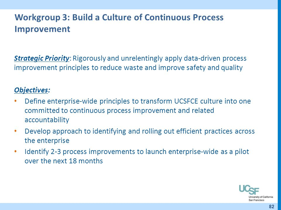 Workgroup 3: Build a Culture of Continuous Process Improvement