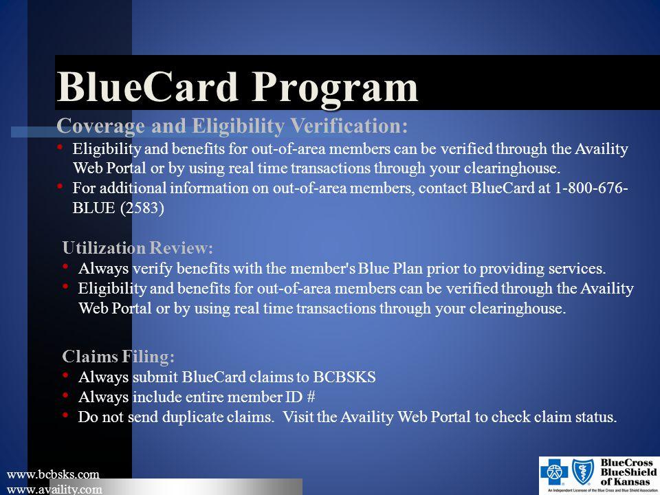 BlueCard Program Coverage and Eligibility Verification: