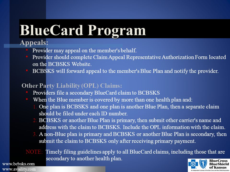 BlueCard Program Appeals: Other Party Liability (OPL) Claims: