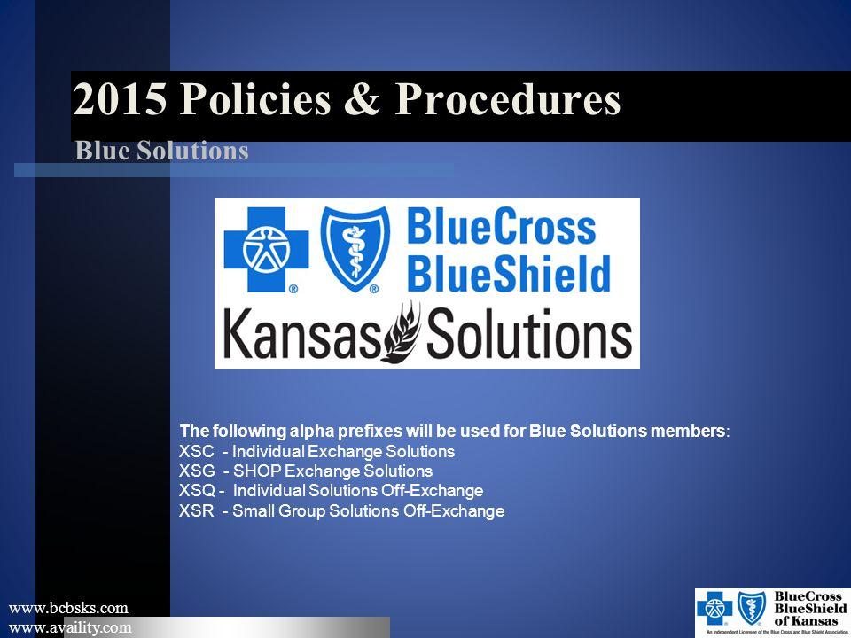2015 Policies & Procedures Blue Solutions