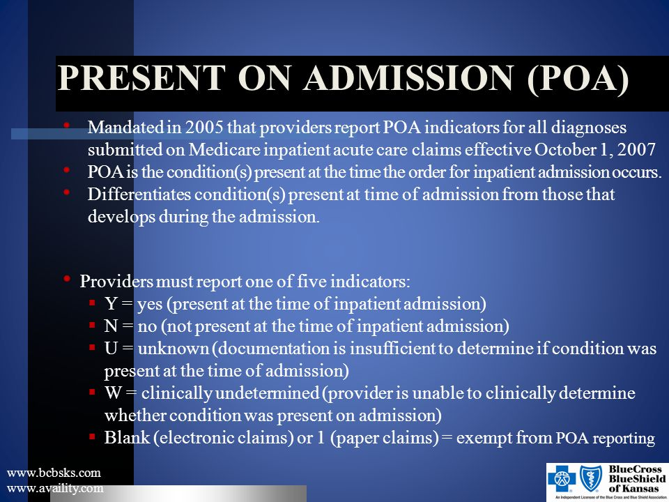 PRESENT ON ADMISSION (poa)