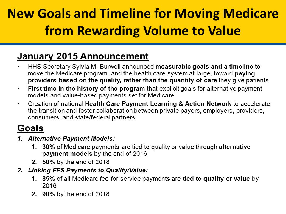 New Goals and Timeline for Moving Medicare from Rewarding Volume to Value