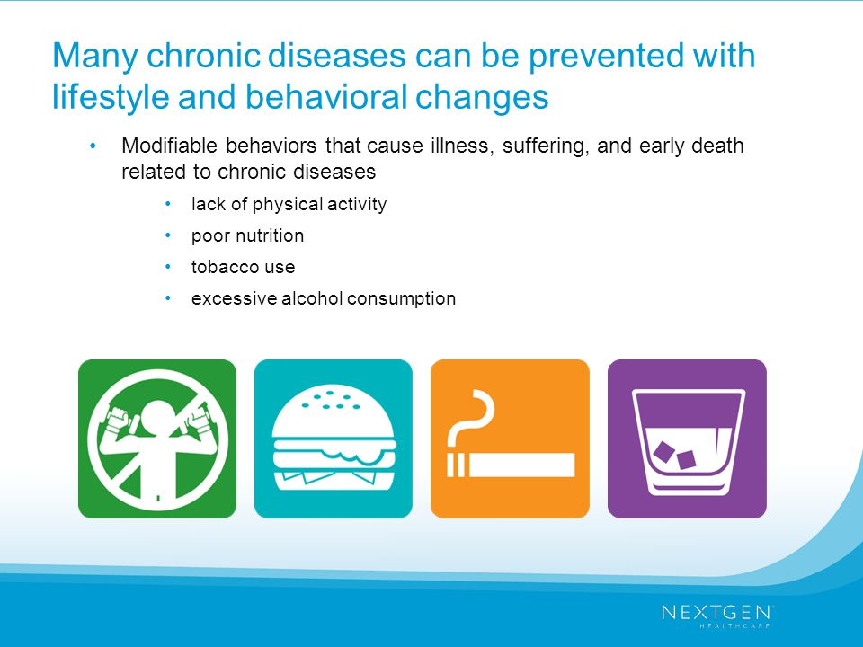 Many chronic diseases can be prevented with lifestyle and behavioral changes