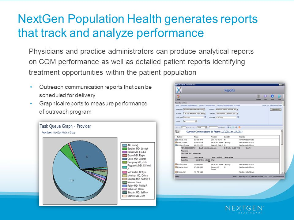 NextGen Population Health generates reports that track and analyze performance