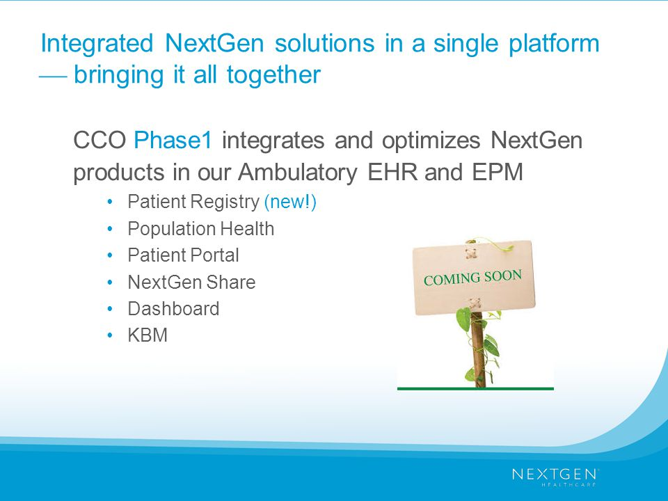 Integrated NextGen solutions in a single platform  bringing it all together