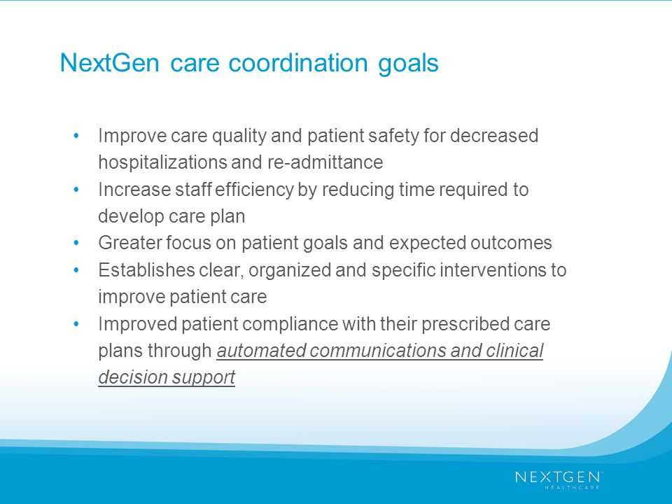 NextGen care coordination goals