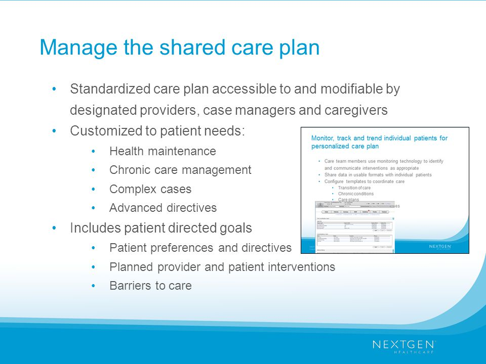 Manage the shared care plan