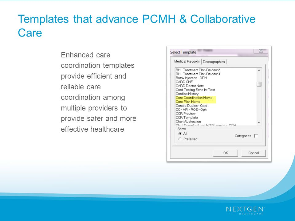 Templates that advance PCMH & Collaborative Care