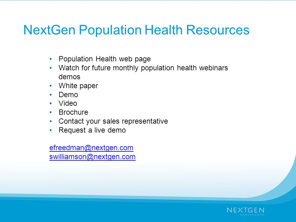 NextGen Population Health Resources
