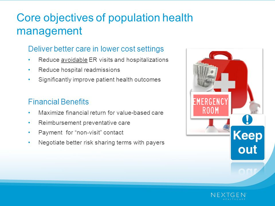 Core objectives of population health management