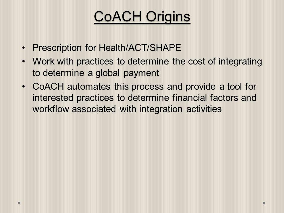 CoACH Origins Prescription for Health/ACT/SHAPE