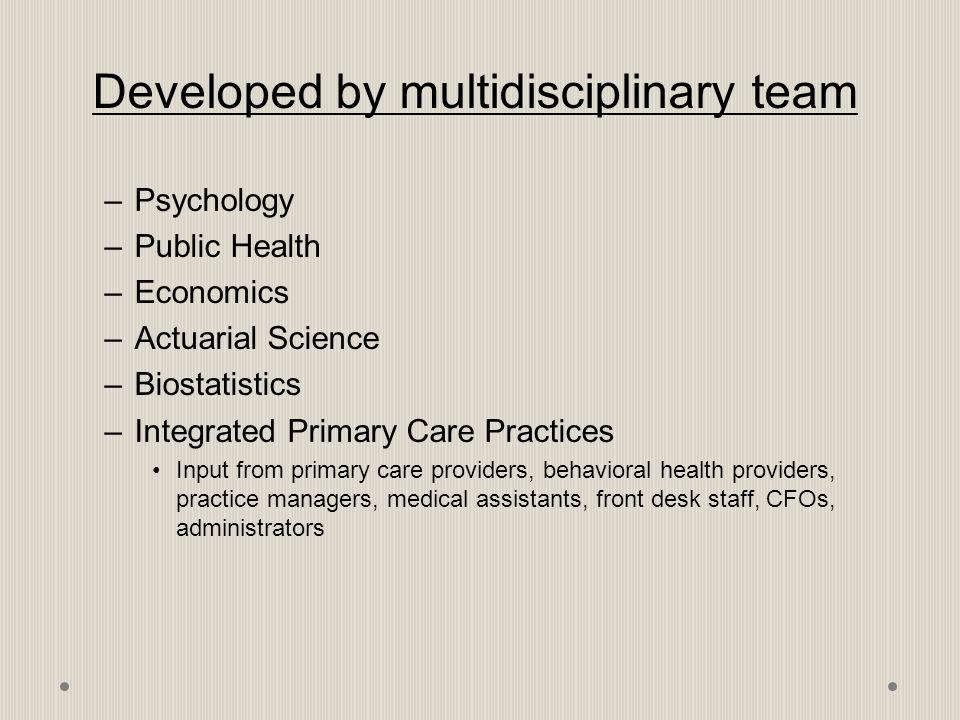 Developed by multidisciplinary team