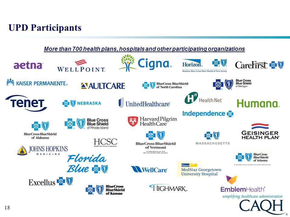 UPD Participants More than 700 health plans, hospitals and other participating organizations