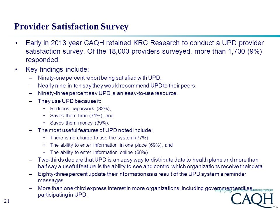 Provider Satisfaction Survey