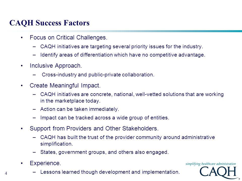 CAQH Success Factors Focus on Critical Challenges. Inclusive Approach.