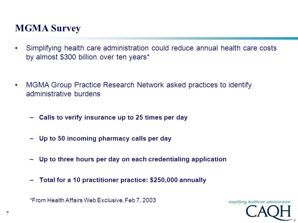 MGMA Survey Simplifying health care administration could reduce annual health care costs by almost $300 billion over ten years*
