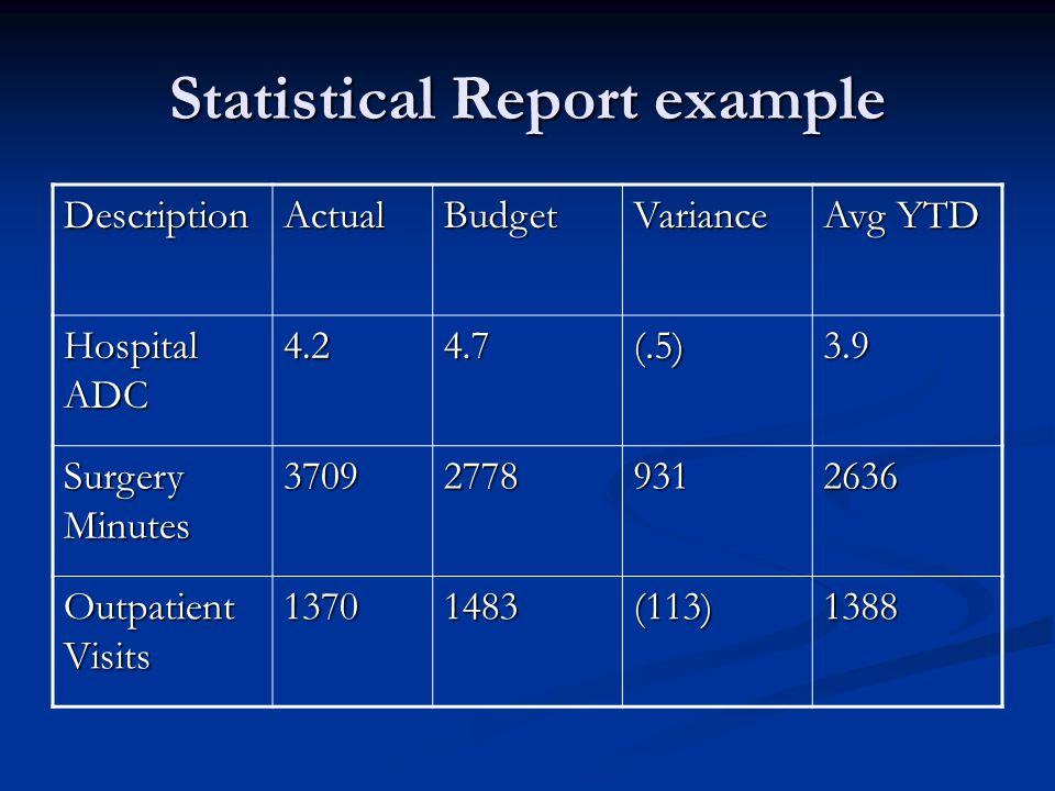 Statistical Report example