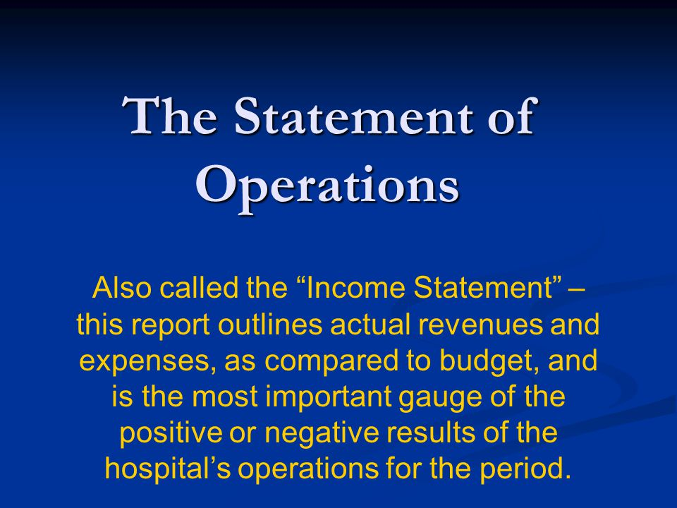 The Statement of Operations