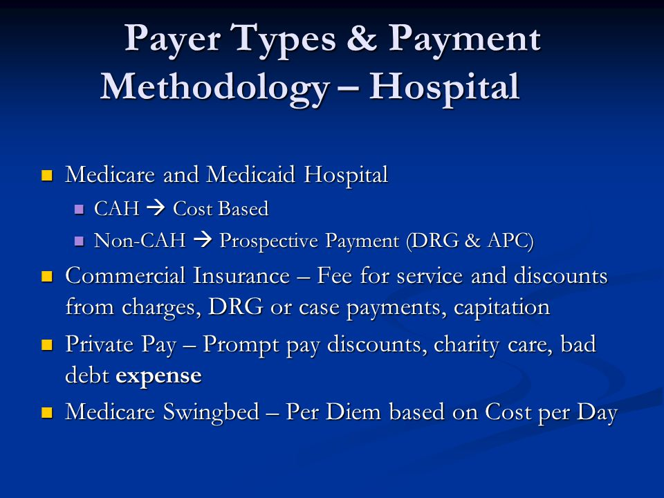 Payer Types & Payment Methodology – Hospital