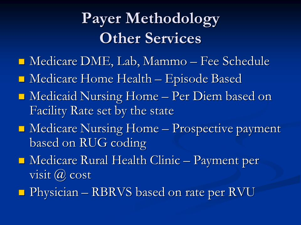 Payer Methodology Other Services