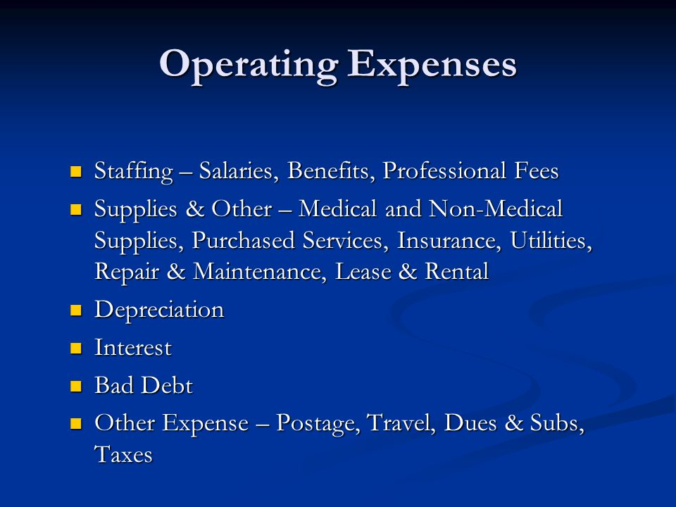 Operating Expenses Staffing – Salaries, Benefits, Professional Fees