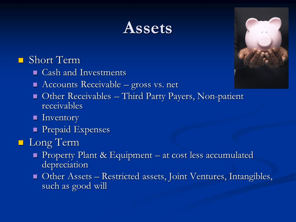 Assets Short Term Long Term Cash and Investments