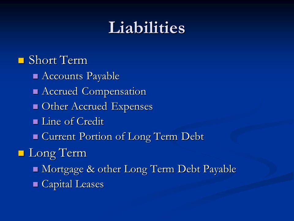 Liabilities Short Term Long Term Accounts Payable Accrued Compensation