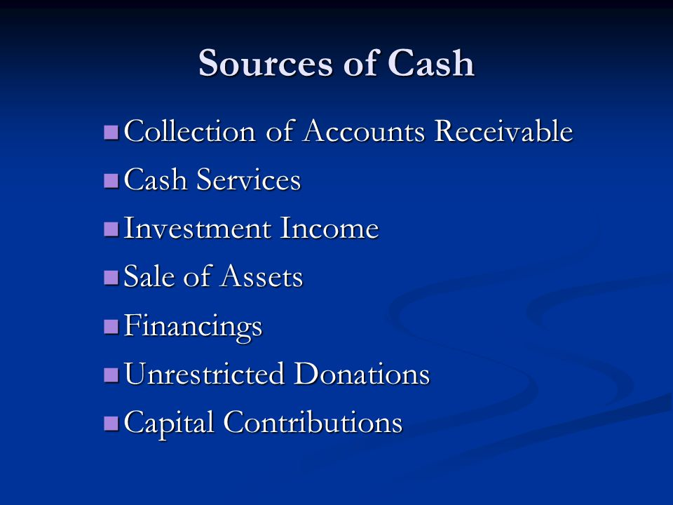 Sources of Cash Collection of Accounts Receivable Cash Services