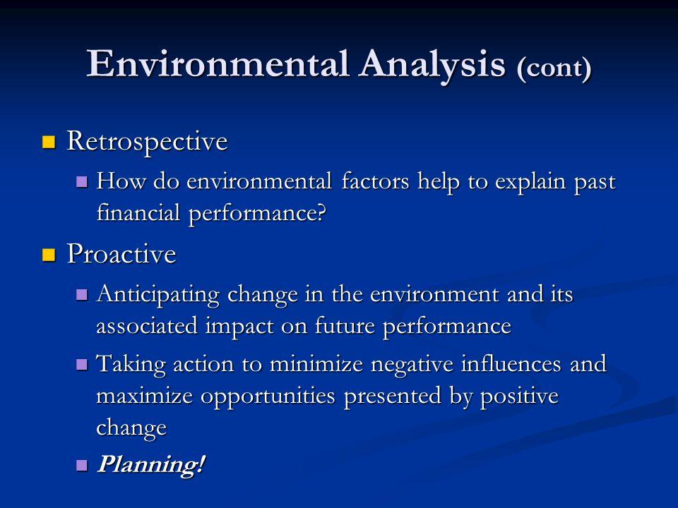 Environmental Analysis (cont)