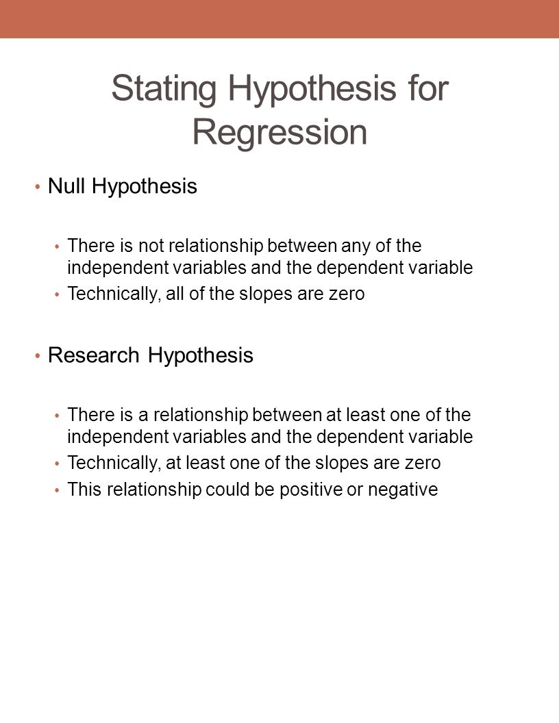 Stating Hypothesis for Regression