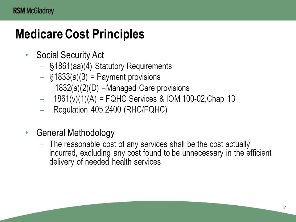 Medicare Cost Principles