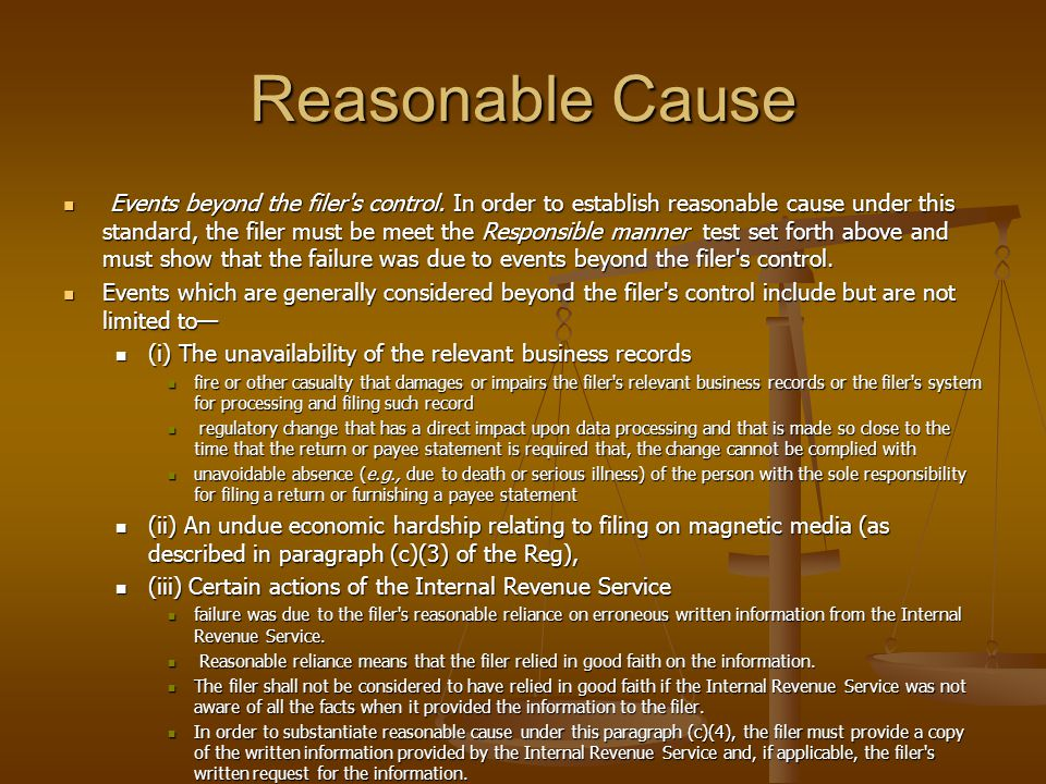Reasonable Cause