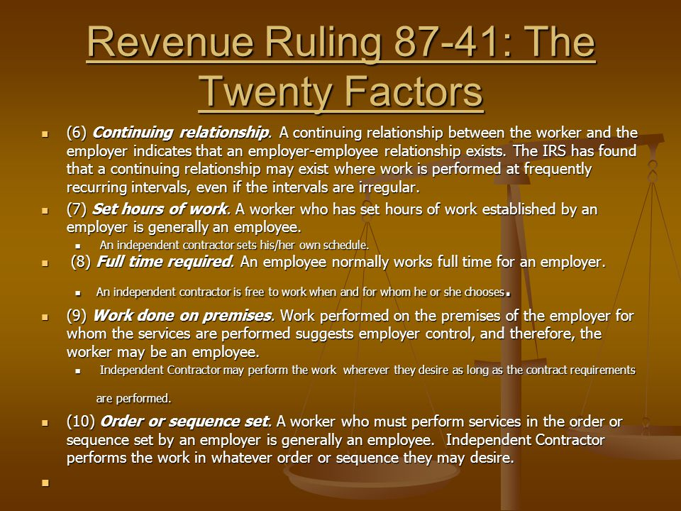 Revenue Ruling 87-41: The Twenty Factors