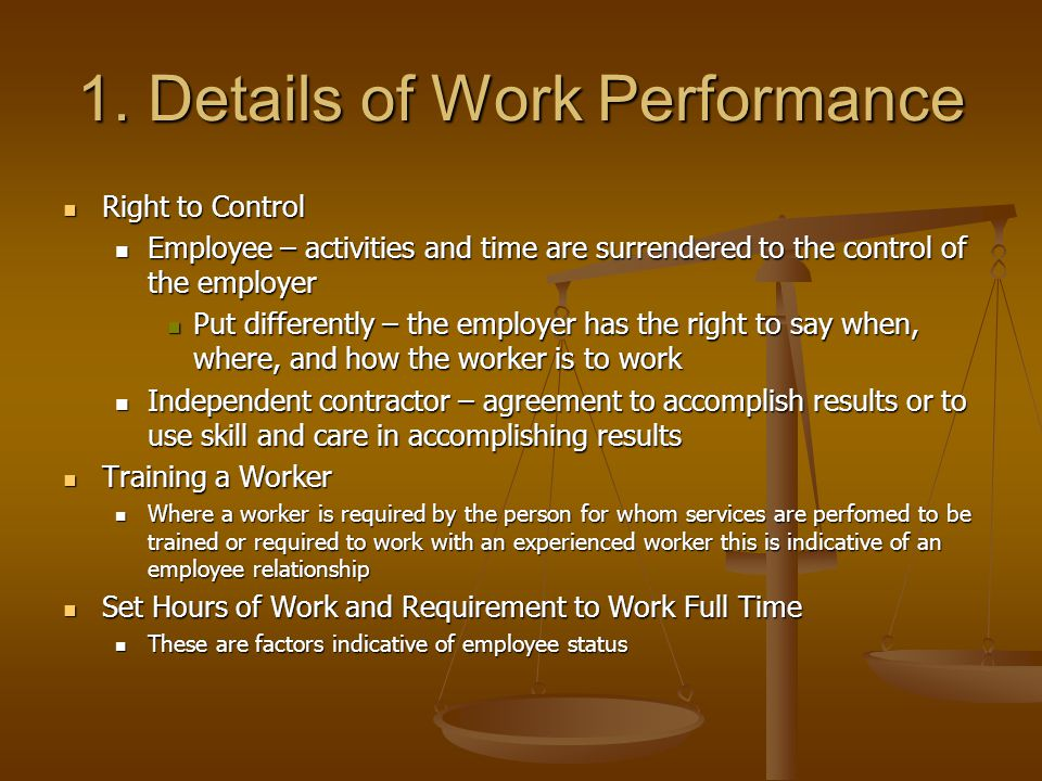 1. Details of Work Performance