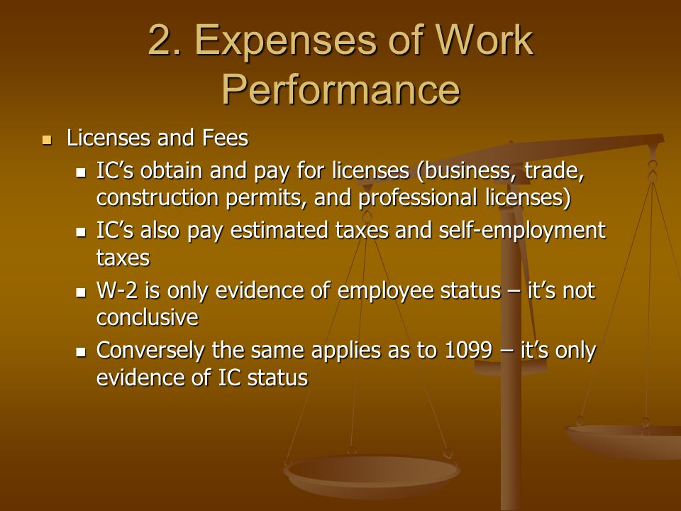 2. Expenses of Work Performance