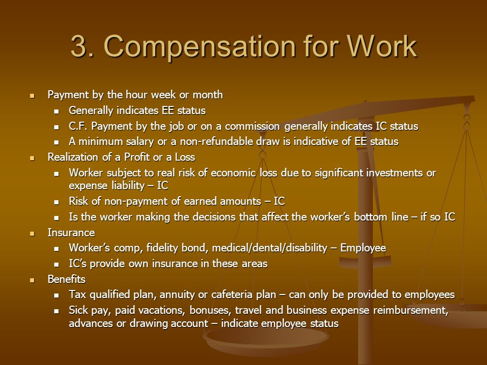3. Compensation for Work Payment by the hour week or month