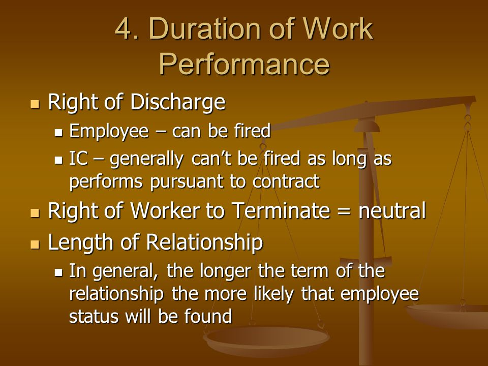 4. Duration of Work Performance