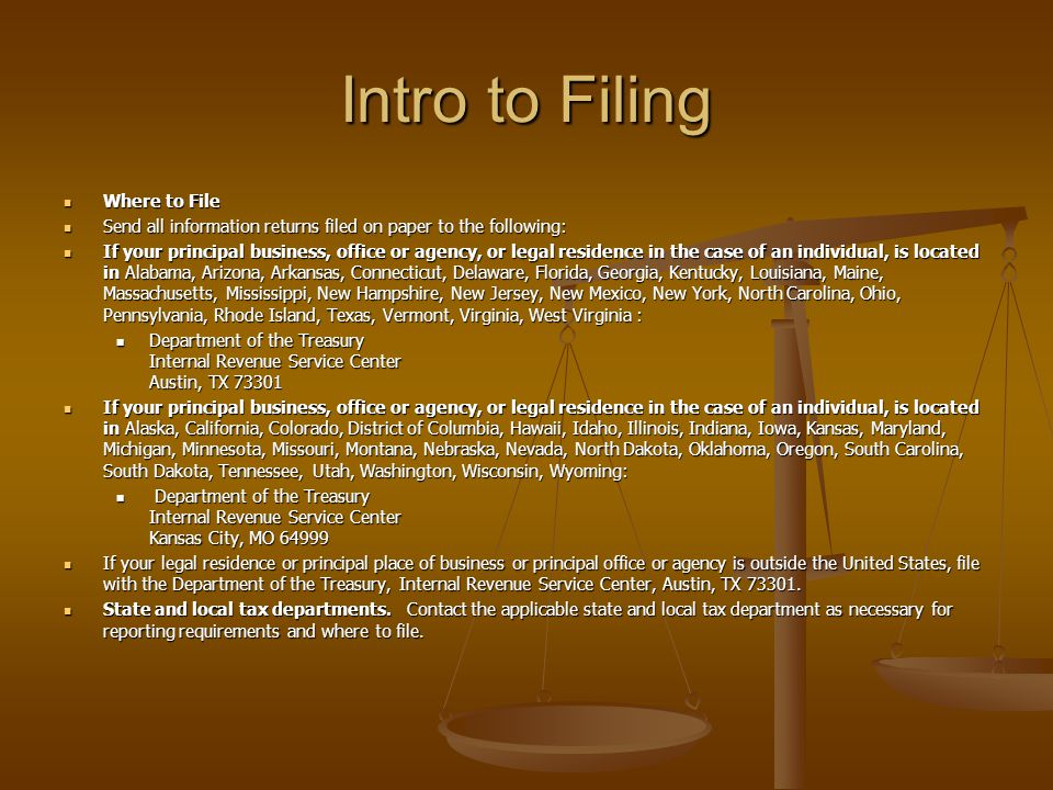 Intro to Filing Where to File