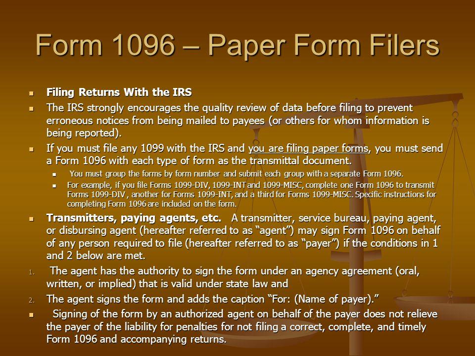 Form 1096 – Paper Form Filers