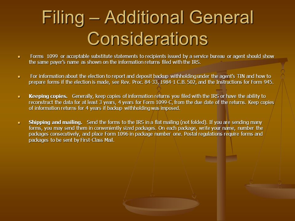 Filing – Additional General Considerations