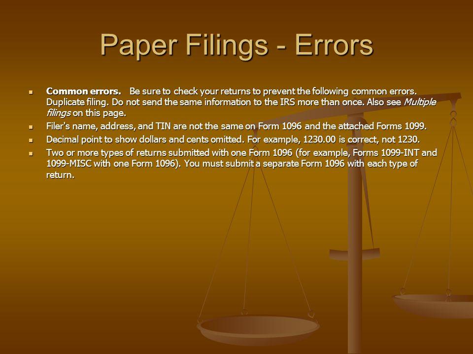 Paper Filings - Errors